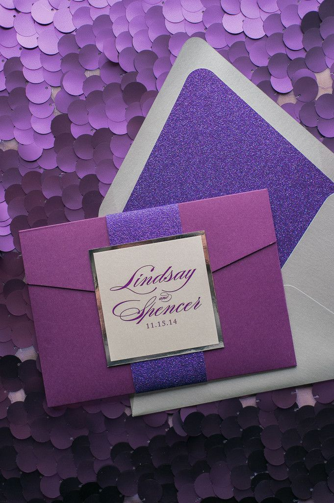 Fabulous Sparkly Silver and Purple Glitter Calligraphy Wedding Invitations. LAUREN Glitter Pocket Folder Collection by Just Invite Me