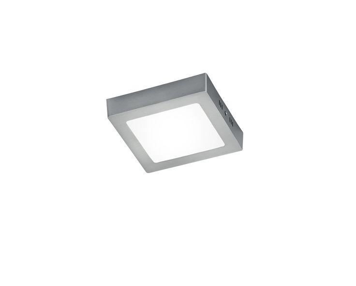 Plafonnier une lumière LED en aluminium, finition nickel mat  Éclairage LED Intégrée