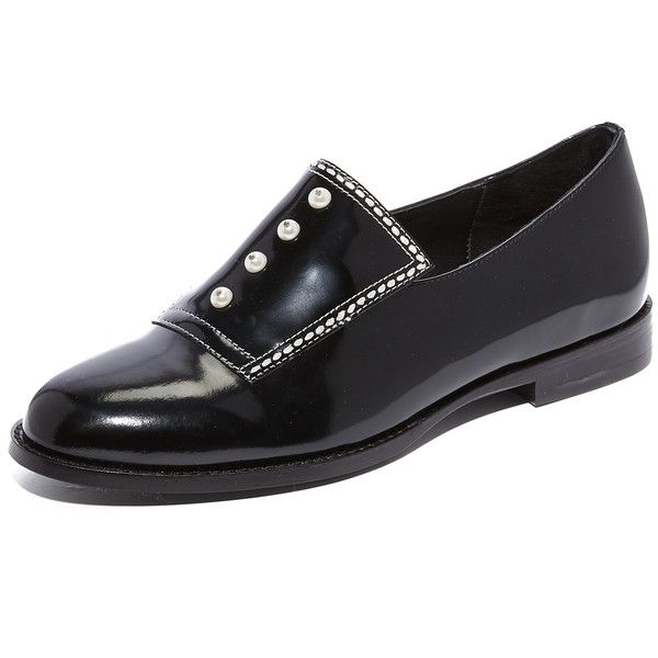 Opening Ceremony Leah Oxfords (440 CAD) ❤ liked on Polyvore featuring shoes, oxfords, black, leather sole shoes, black leather oxfords, opening ceremony shoes, opening ceremony and kohl shoes