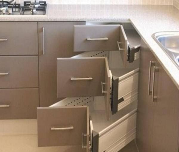 nice idea for built in corner storage drawers i like this better than the lazy susan corner cabinet