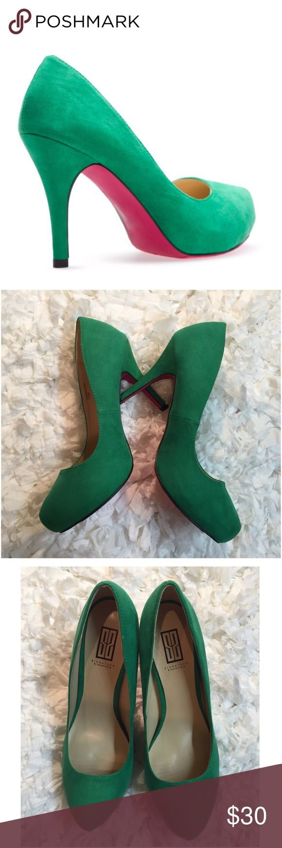 "NWOT! Green Signature by ShoeDazzle Green Pumps NEVER WORN! Signature by Shoe Dazzle Green Faux Suede Heels/Pumps. Heel approx 3"". Pink soles. 🌟SOLD OUT🌟 01041780g Shoe Dazzle Shoes Heels"