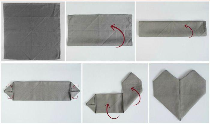 Servet of servetten vouwen in hart | folding napkin in heart