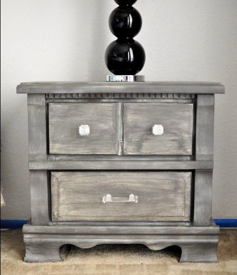 How to get that gray/weathered look on cheap laminate/wood thriftstore furniture!