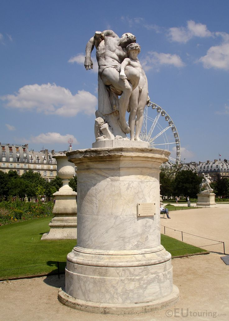 A marble statue named Le Serment de Spartacus, which is one of many statues within the Tuileries Gardens to admire.  Daily updates at www.eutouring.com/images_tuileries_garden.html