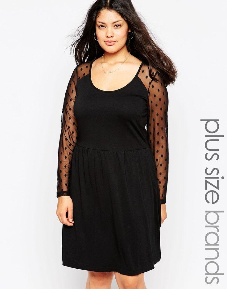 Junarose+Lace+Sleeved+Skater+Dress