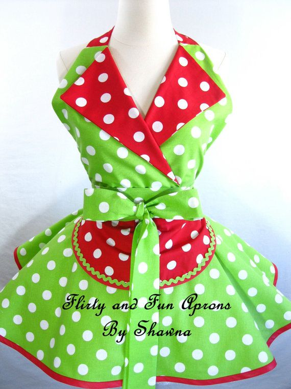 Retro Pin Up Lucy Apron with Watermelon Red and Lime by sjcnace4, $55.00