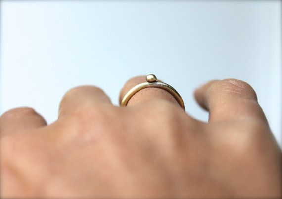 Pearl Ring Round Bronze Sterling Silver Gift for Her Stackable Thin Minimal Engagement Ring