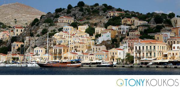 Symi, Greece, island, sea, cost, architecture,  homes, boat, Europe, Tony Koukos, Koukos,