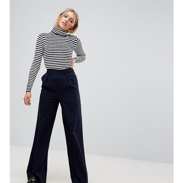 ASOS TALL The Wide Leg Pants with Pleat Detail (€33) ❤ liked on Polyvore featuring pants, navy, high-waisted wide leg pants, high waisted wide leg pants, wide-leg pants, tall pants and high-waist trousers