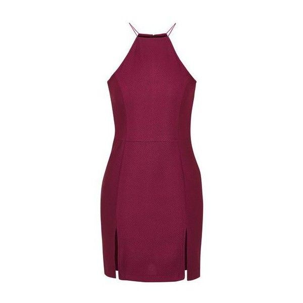Textured Bodycon Dress by Rare ($29) ❤ liked on Polyvore featuring dresses, wine, body con mini dress, high neck dress, wine bodycon dress, purple body con dress and topshop