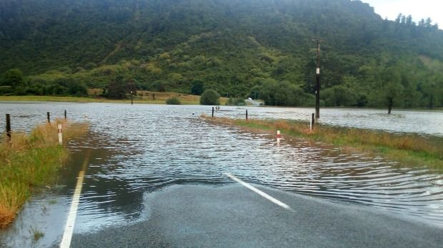 Road closed at Inangahua junction due to flooding.