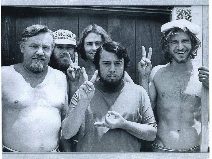 Harrison Ford (far right) when he was a carpenter building Sergio Mendes' recording studio in 1970.