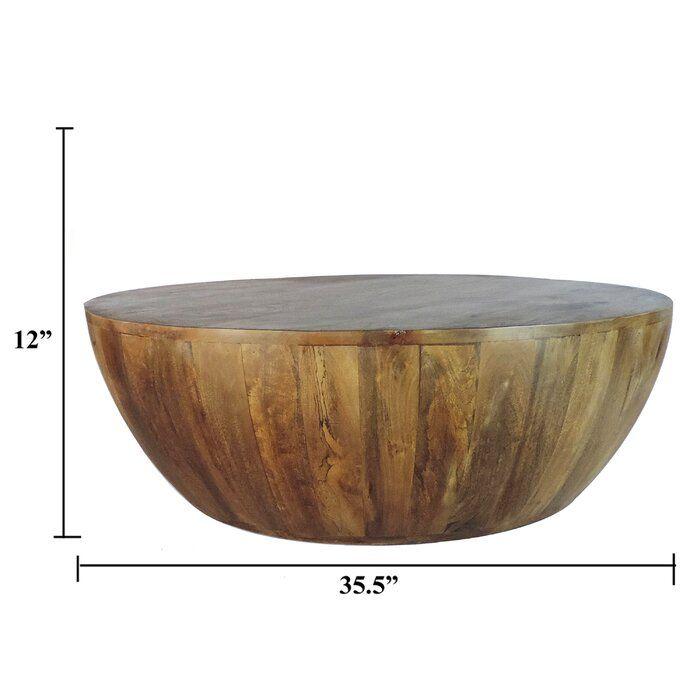 Beliveau Solid Wood Drum Coffee Table Coffee Table Wood Coffee