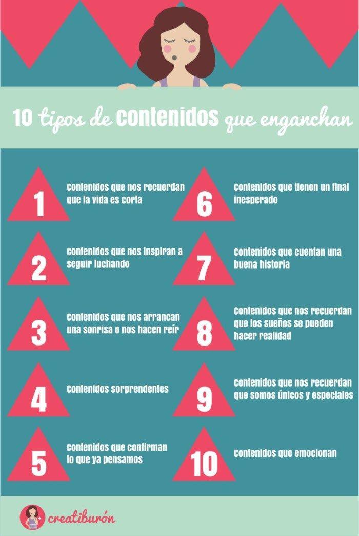 10 tipos de contenidos que enganchan #infografia #infographic #marketing