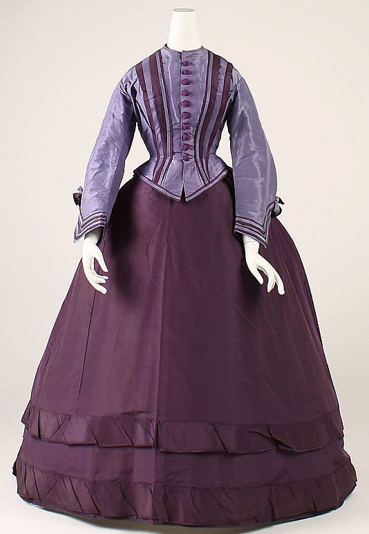 whenasinsilks:  Dress, materials not listed (appear to be silk taffeta), late 1860s, probably American.