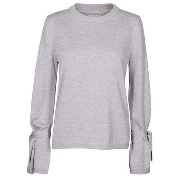 Round-Neck Grey Tie Sleeve Jumper (4,985 INR) ❤ liked on Polyvore featuring tops, sweaters, round neck sweater, long sleeve cotton tops, long sleeve sweater, gray jumper and gray sweaters