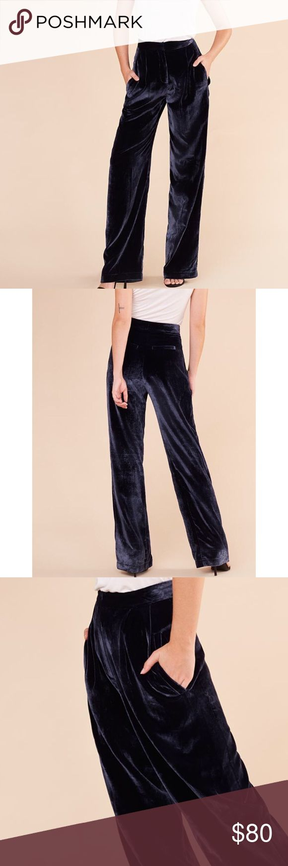 NEVER WORN Reformation Blue Velvet 'Jones Pant' BLUE | VELVET | SIZE 4 (+) | HIGH-WAISTED | WIDE LEG | TROUSERS | BUTTON + ZIPPER || These are BRAND NEW pants from The Reformation that have NEVER BEEN WORN bc they were too big for me, & I was out of town when they arrived (missed returns deadline). They're super chic & comfy, & I would say they'd work on a true 4 if you want added flexibility, or a small 6, if you don't care. These can be dressed up or down, but definitely require heels or…