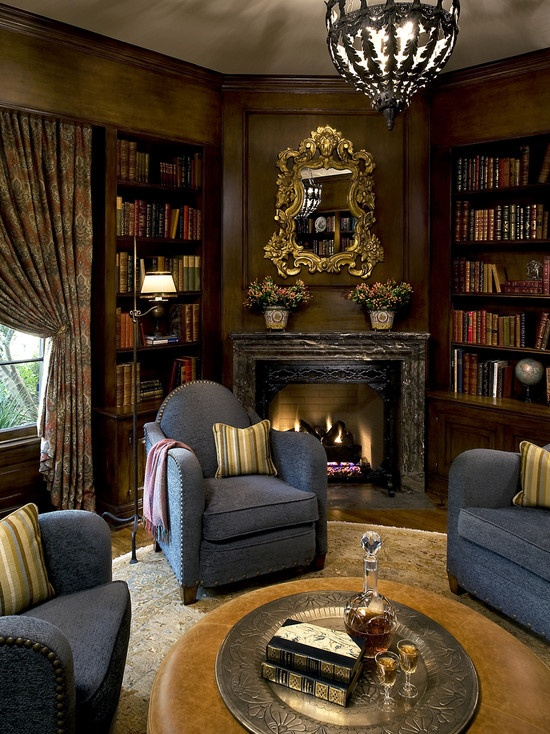Traditional Family Room Library Design Pictures Remodel Decor And Ideas
