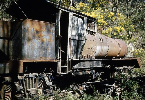 "Newnes train, 1953. This is Commonwealth Oil Company No.4, the largest of the Wolgan Valley Railway ""Shay"" geared locomotives, and the largest to operate in Australia. it was ultimately broken up three years later."
