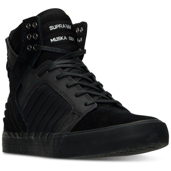 Supra Men's Skytop Evo High-Top Casual Sneakers from Finish Line ($120) ❤ liked on Polyvore featuring men's fashion, men's shoes, men's sneakers, shoes, men, mens hi tops, mens sneakers, mens black hi top sneakers, mens high tops and supra mens shoes