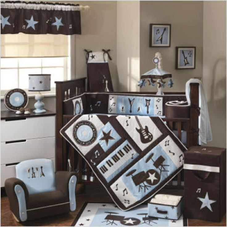 Rock N Roll Baby Boy Crib Bedding. Lambs Ivy Rock N Roll Crib Bedding Set.  Blue Rock And Roll Crib Bedding.