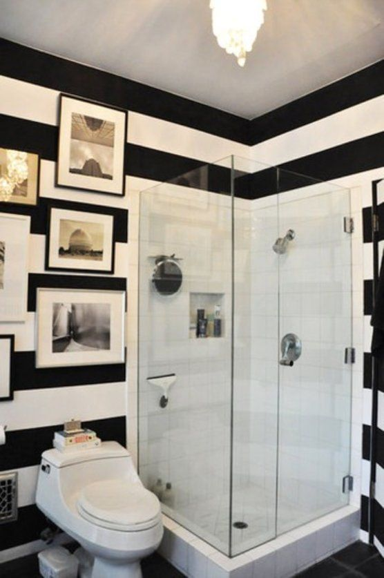 To Da Loos: Black U0026 White Striped Walls. Small Bathroom ... Part 78