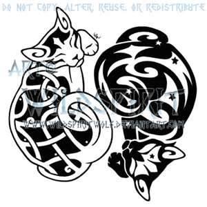 Yin Yang Starry Celtic Cats Design By WildSpiritWolf On DeviantART