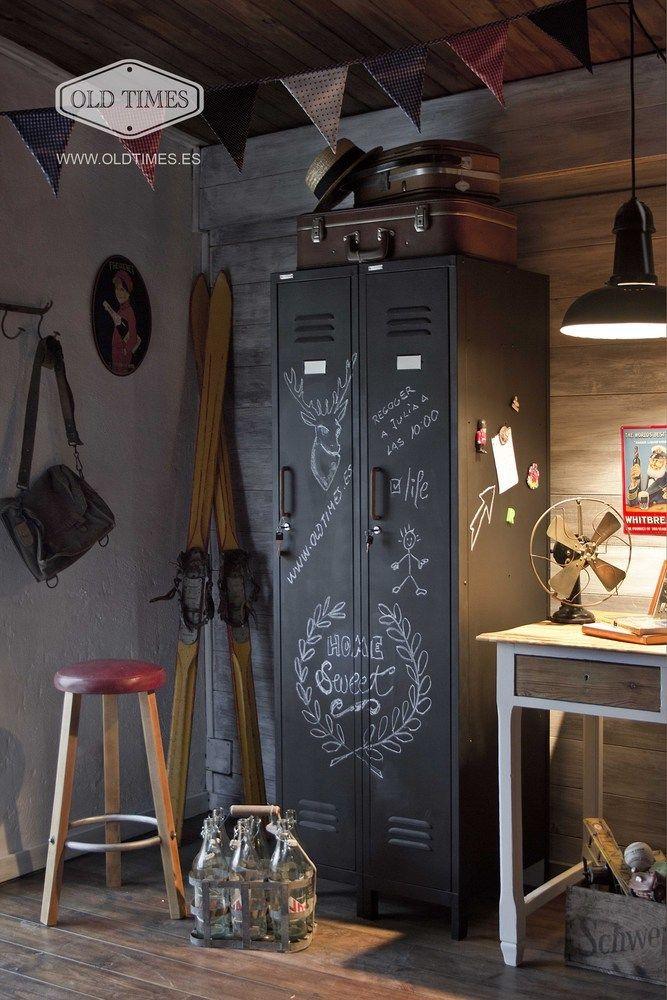 taquilla locker industrial vintage acabada en pintura de pizarra negra con interior blanco medidas