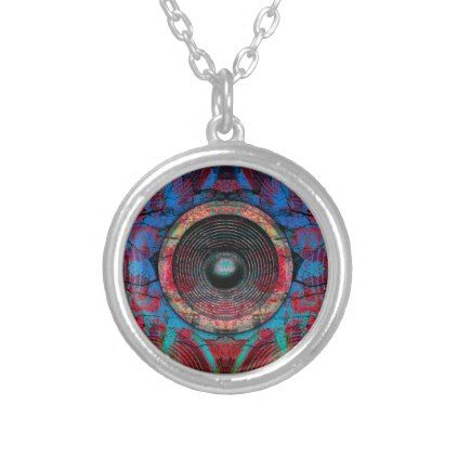 Red music speakers on a cracked wall silver plated necklace - patterns pattern special unique design gift idea diy