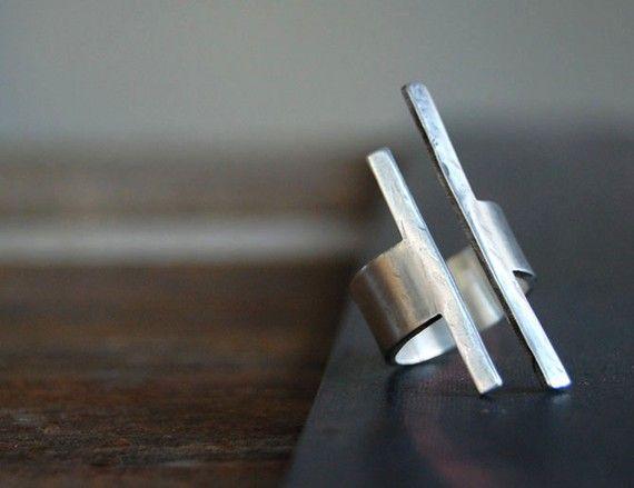 Balance ley anillo cuadrado Bar moderno anillo por SoulPeaces