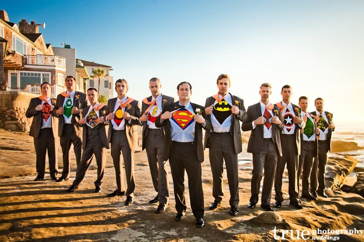 Super Hero Groomsmen - i already know this is gonna happen...except with power ranger shirts.  lol.
