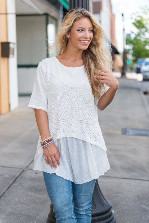 Confidently You Tunic, White - The Mint Julep Boutique