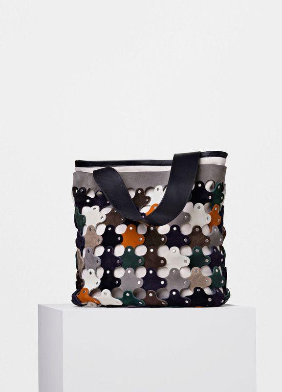 celine black leather luggage tote bag - Medium Punched Shoulder Bag in Multicolour Suede Calfskin - C��line ...