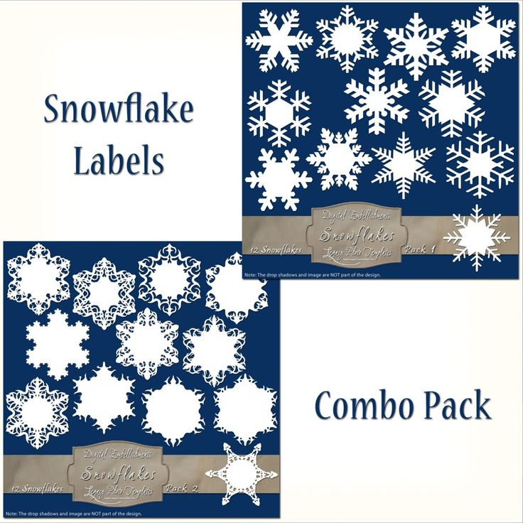24 Frosty Snowflake Labels - Combo Pack $7.75 #snowflakes, #white, #labels, #winter, #embellishment, #scrapbooking