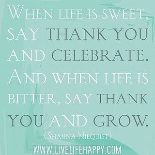 Amen. When life is sweet, say thank you and celebrate. And when life is bitter, say thank you and grow. -Shauna Niequist by deeplifequotes, via Flickr