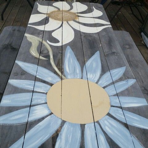 Painted picnic table, original design by yours truly ....