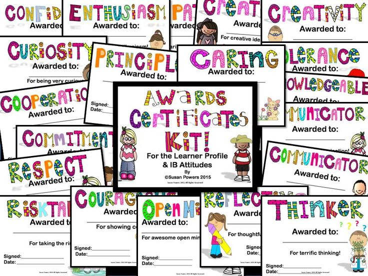 Awards certificates with the IB PYP Learner Profile and Attitudes.