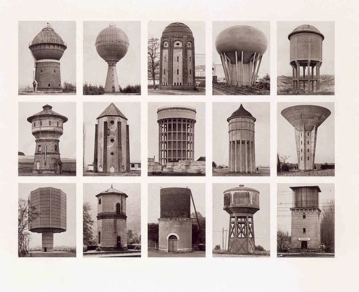 Wasserturme (Water Towers) | Bernd & Hill Becher, 2006  (from: White + Gold watertowers | Industry porcelain by Gentle Giants)