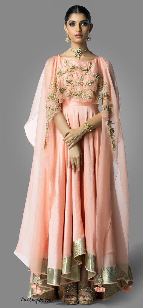 Peach Cape Anarkali, Shilpa Reddy - Lux Shoppe – LuxShoppe.com