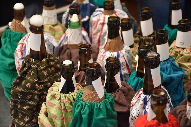 Best of Bio | beer 2016 im Alter Wirt München. Die selbstgenähten Flaschenhüllen zur Blindverkostung #recycling