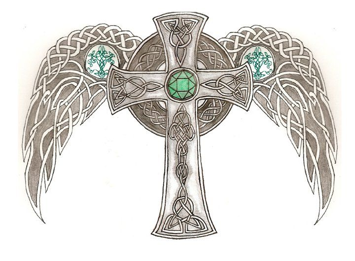 Celtic Cross Drawings | Celtic Cross with wings by AegisShadow