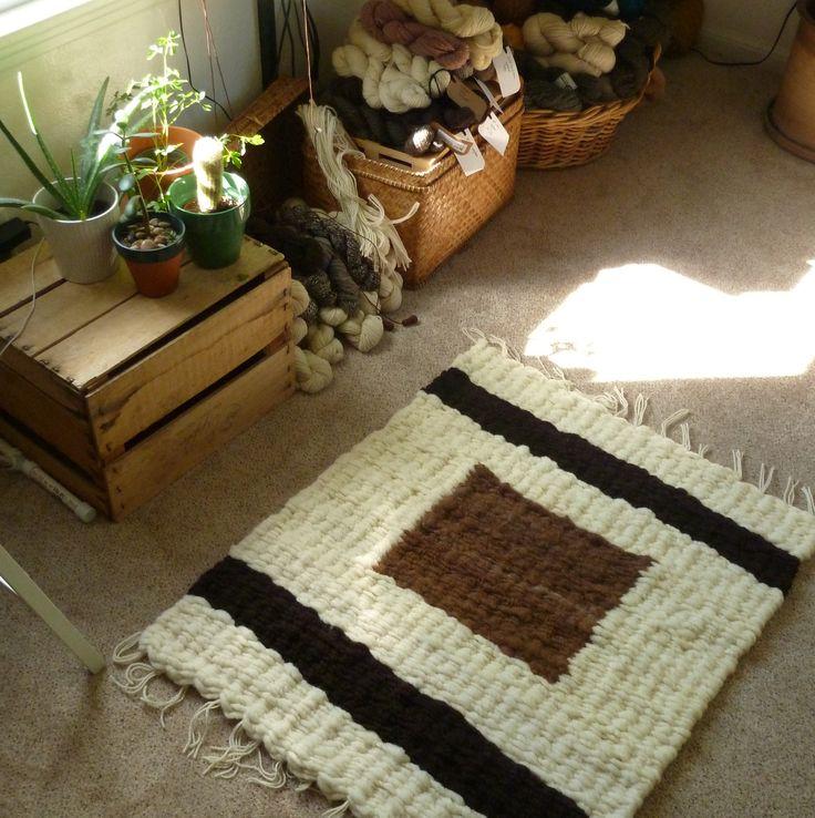 Hand-Woven Wool Rug in Brown Colorblock - 100% Wool and Alpaca fibers