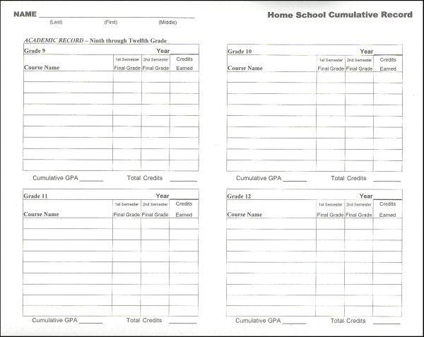 Home School Cumulative Record