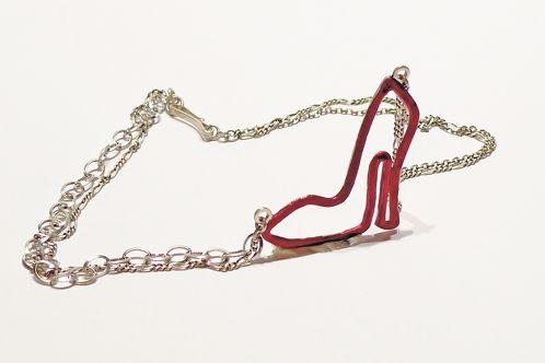 http://www.cityblis.com/item/9143      TheDailyObjects - TheDavilWearsPrada - $ 180 by OGIGIOIELLI      Necklace, silver, oxidation, enamel.