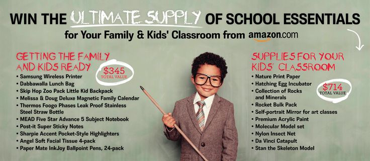 Win the Ultimate School Essentials for Your Family & Your Kid's Classroom ($1054 value) from Amazon and Red Tricycle! - http://www.dealiciousmom.com/win-the-ultimate-school-essentials-for-your-family-your-kids-classroom-1054-value-from-amazon-and-red-tricycle/