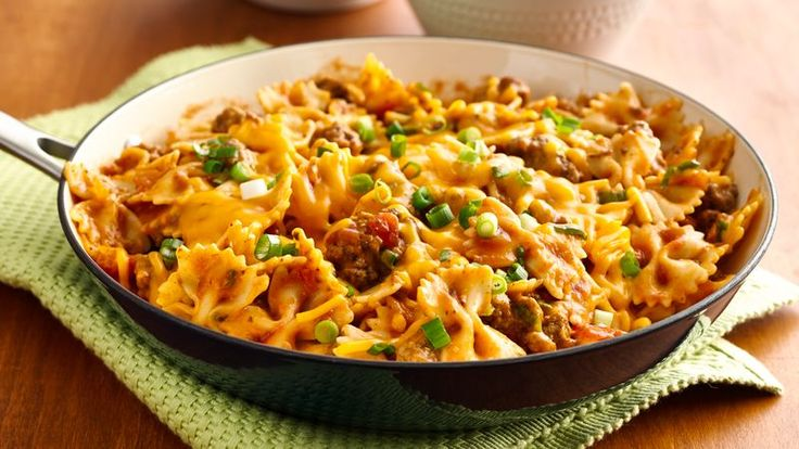 In a hurry?  Try a 20-minute skillet meal with sassy salsa and tender pasta.