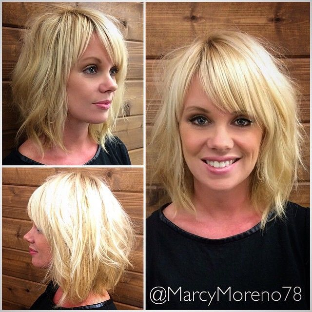wavy bob with side bangs