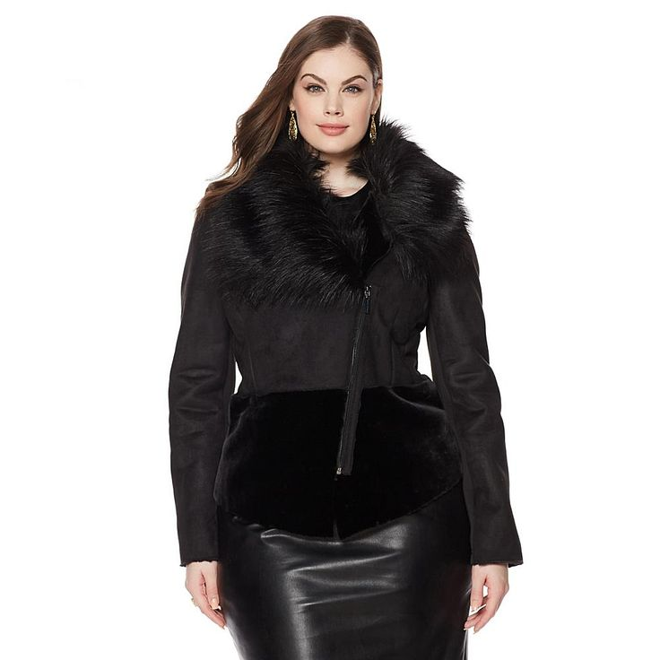 Pamela Dennis Faux Suede and Shearling Jacket with Faux Fur Collar - Black