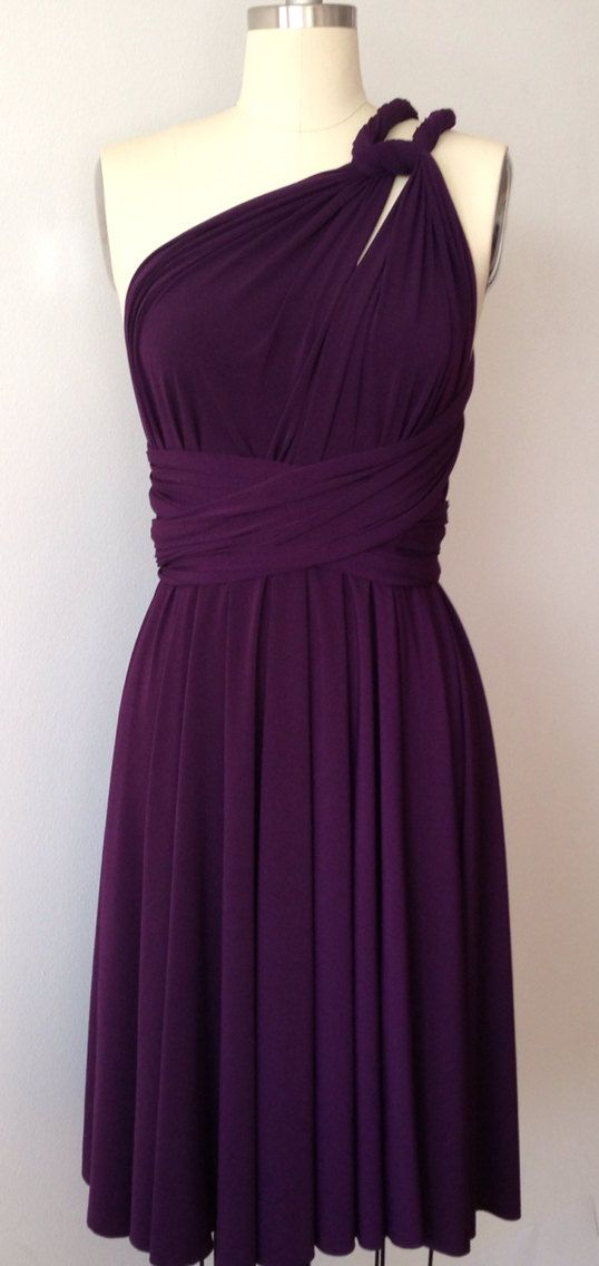 Dark Purple Grape Eggplant SHORT Infinity Dress by AtomAttire