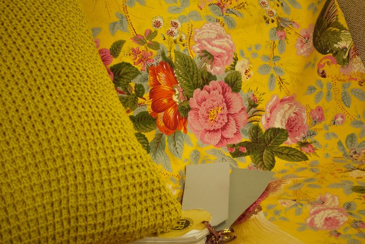 Gorgeous French fabric from Clare at Vintage Bird in Hastings, cable knit cushion & Farrow & Ball Lamp Room Grey & Pigeon.